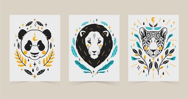 Handgezeichnete abdeckungen für wilde tiere