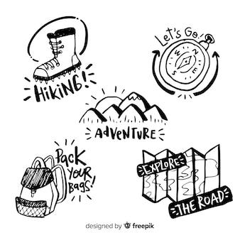 Handgezeichnete abenteuer logo sammlung