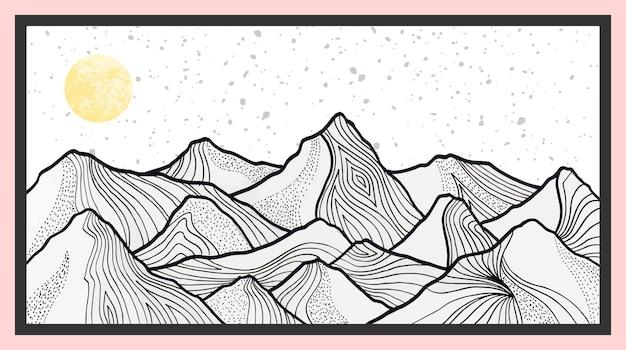 Handgezeichnete abstrakte bergmalerei. premium-vektor abstrakte kunst hintergrund