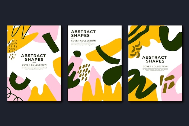 Handgezeichnete abstrakte formen deckt sammlung