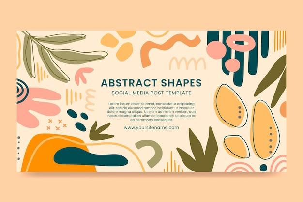 Handgezeichnete abstrakte formen des flachen designs facebook-post