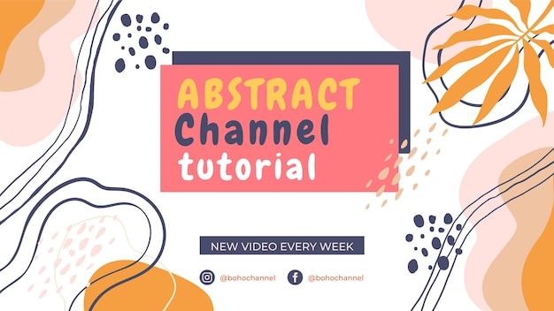 Handgezeichnete abstrakte formen des flachen designs youtube-kanalkunst