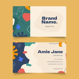 Handgezeichnete abstrakte formen visitenkarten-design