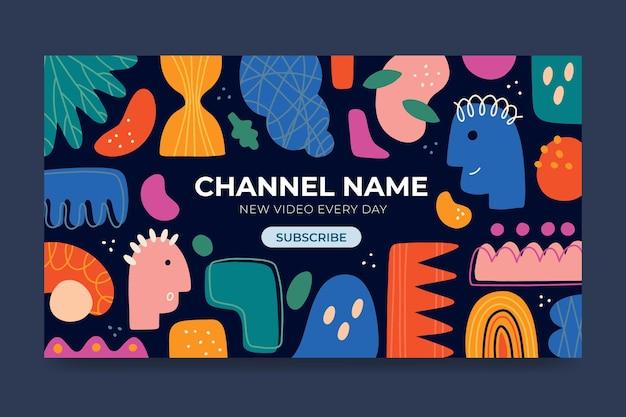Handgezeichnete abstrakte formen youtube-kanalkunst