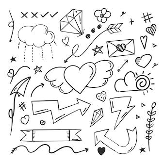Handgezeichnete abstrakte gekritzel-gekritzelelemente