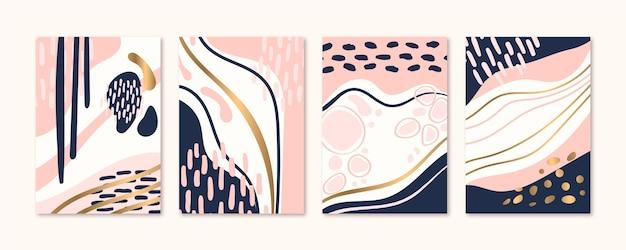 Handgezeichnete abstrakte kunst deckt sammlung Premium Vektoren