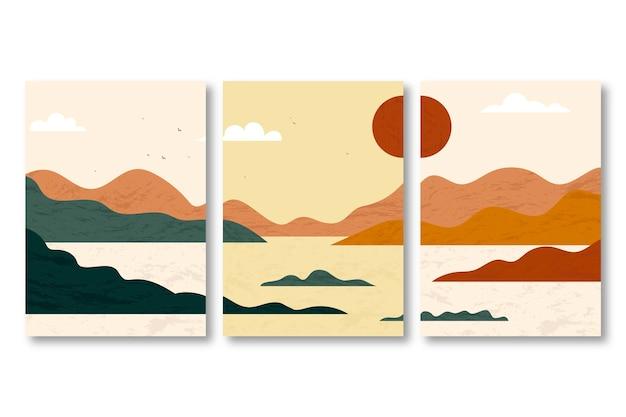 Handgezeichnete abstrakte landschaft deckt sammlung