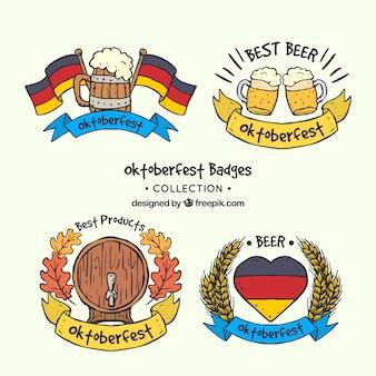 Handgezeichnete abzeichen mit bier und deutschen flaggen