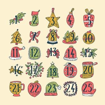 Handgezeichnete adventskalender mit dekoration