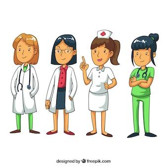 Handgezeichnete ärzte, chirurg und krankenschwester