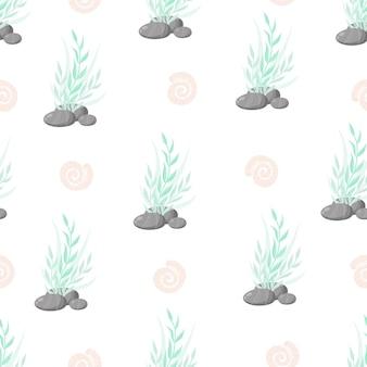 Handgezeichnete algen, korallen nahtlose muster. meerespflanzen hintergrund. vektor-illustration