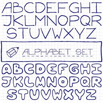 Handgezeichnete alphabet gesetzt