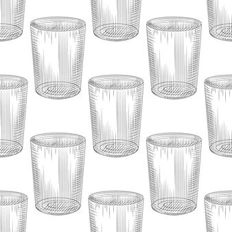 Handgezeichnete altmodische nahtlose glasmuster auf weißem hintergrund. gravur vintage-stil kulisse. design für packpapier, textildruck. vektor-illustration