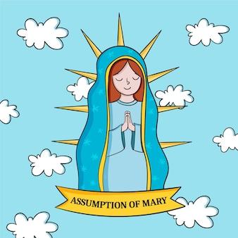 Handgezeichnete annahme von maria illustration