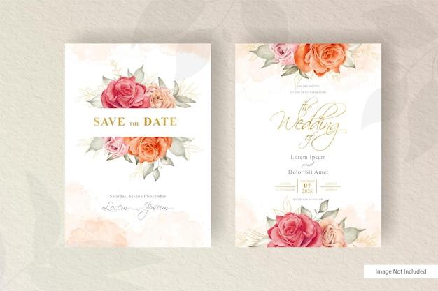Handgezeichnete aquarell blumenhochzeitseinladungskartenvorlage mit minimalistischem arrangement-blumen- und blätter-element