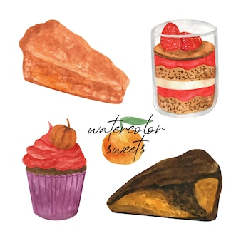 Handgezeichnete aquarell-set von desserts torte und kuchen für grußkarten-poster-rezept kulinarisch
