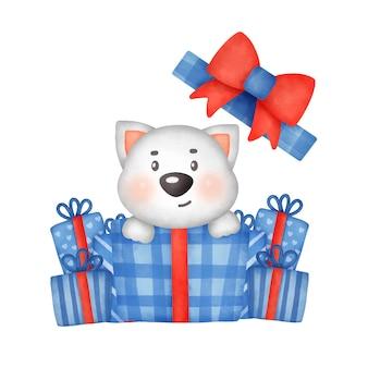 Handgezeichnete aquarell weihnachtsgrußkarte mit süßem hund.