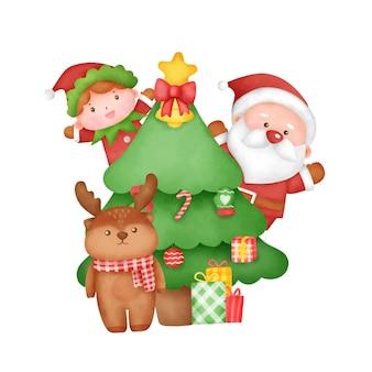Handgezeichnete aquarell weihnachtskarte mit süßem weihnachtsmann und freunden.