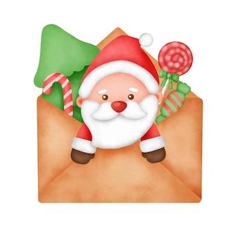 Handgezeichnete aquarell weihnachtskarte mit süßem weihnachtsmann.