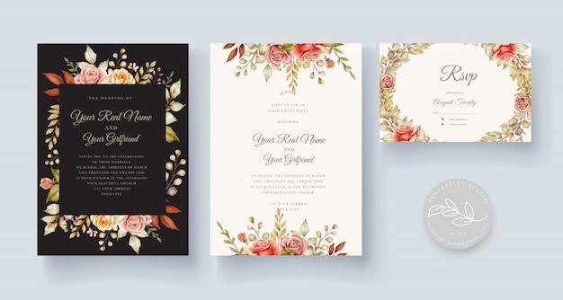 Handgezeichnete aquarellblumenhochzeitskarte