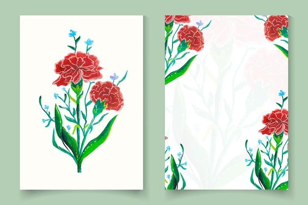 Handgezeichnete aquarellblumenkartenschablone