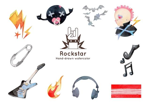 Handgezeichnete aquarellillustration der rock'n'roll-elemente