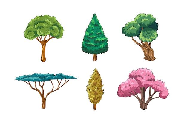 Handgezeichnete art von bäumen set