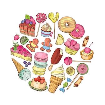Handgezeichnete arten von süßigkeiten essen kreis