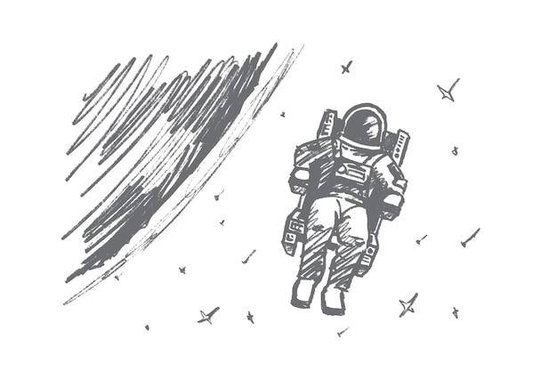 Handgezeichnete astronauten-konzeptskizze