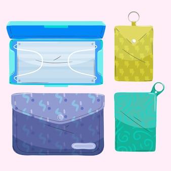 Handgezeichnete aufbewahrungsbox für gesichtsmasken
