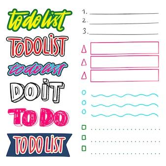 Handgezeichnete aufgabenlistensammlung