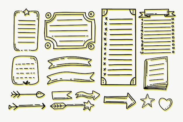 Handgezeichnete aufzählungszeichenjournalelemente