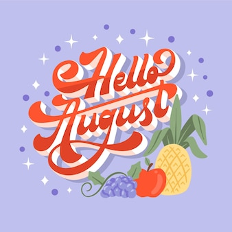 Handgezeichnete august-schriftzug mit früchten