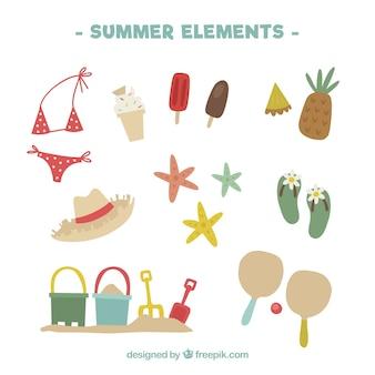 Handgezeichnete auswahl an großartigen sommerartikeln