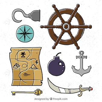 Handgezeichnete auswahl von großen piratenobjekten