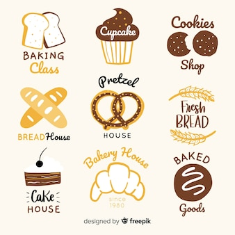 Handgezeichnete bäckerei logos