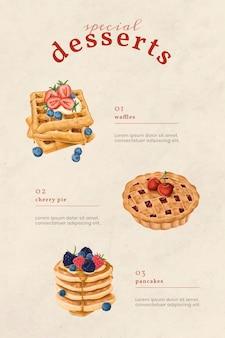 Handgezeichnete bäckerei-menükarte pinterest-vorlage