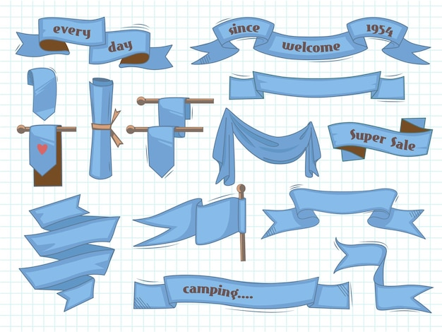 Handgezeichnete bänder. vintage banner skizzierten elemente illustrationen gesetzt.