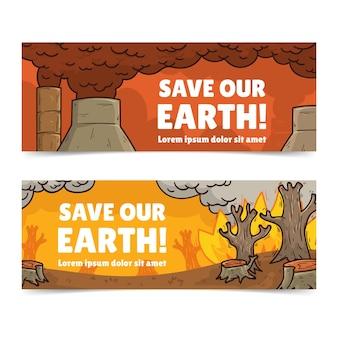 Handgezeichnete banner für den klimawandel