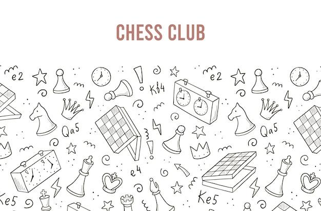 Handgezeichnete banner-vorlage mit cartoon-schachspiel-elementen