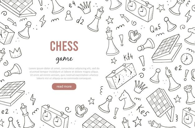 Handgezeichnete banner-vorlage mit cartoon-schachspielelementen. doodle-skizze-stil.