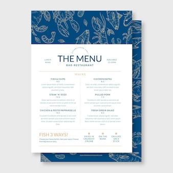 Handgezeichnete bar-restaurant-menüvorlage