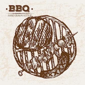 Handgezeichnete bbq fleischprodukte