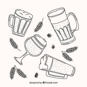 Handgezeichnete bierglas & becher sammlung