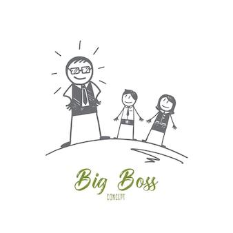 Handgezeichnete big boss-konzeptskizze