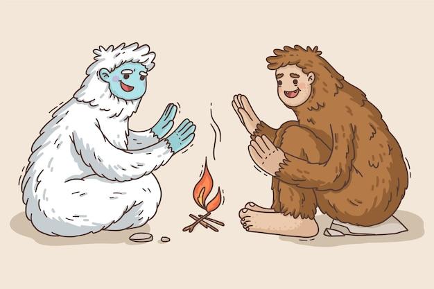 Handgezeichnete bigfoot sasquatch und yeti adominable schneemann illustration