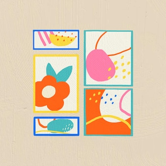 Handgezeichnete bilderrahmen-vektor-wohnkultur im bunten flachen grafikstil