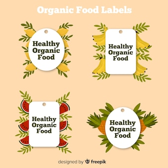 Handgezeichnete bio-lebensmittel-etiketten