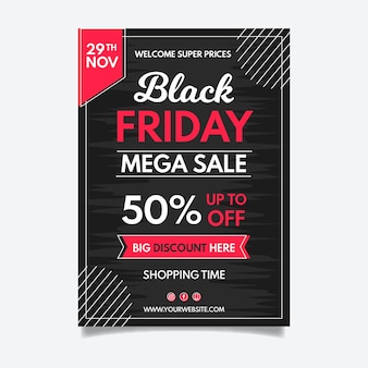 Handgezeichnete black friday flyer