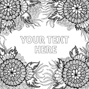 Handgezeichnete black & white adult coloring background